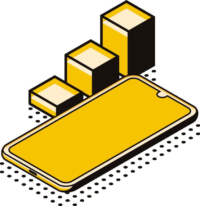 celular amarelo e gráficos ao lado